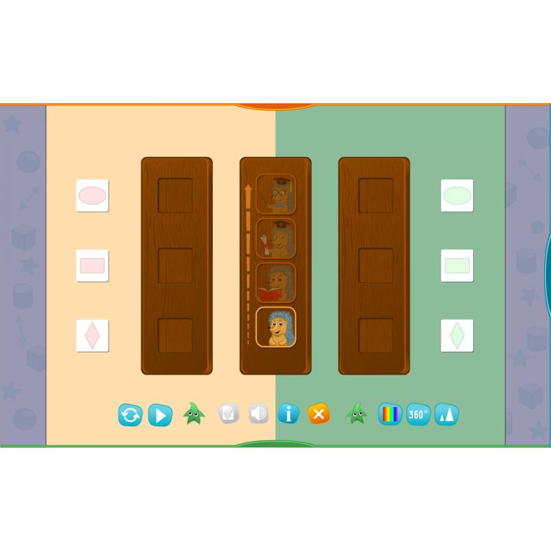 Развивающее пособие Готовимся к школе. Для интерактивных столов. Свойства и расположение предметов.